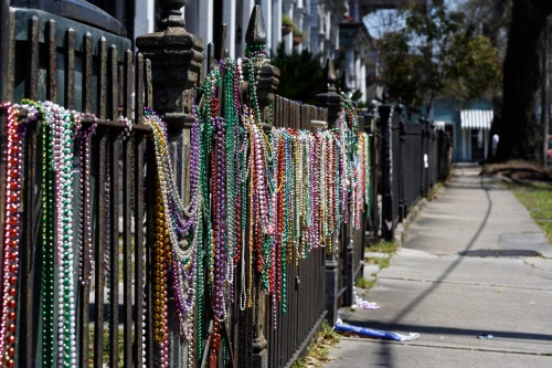 A shot of post-Mardi Gras beans lining the streets in Mid-City in New Orleans from our visit a few years ago.