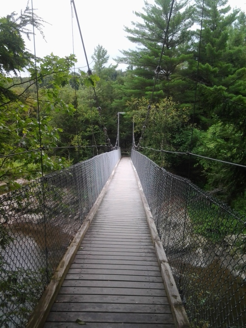 Suspension bridge over the Lamoille River.