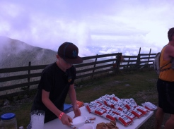 Aid station atop Jay Peak.
