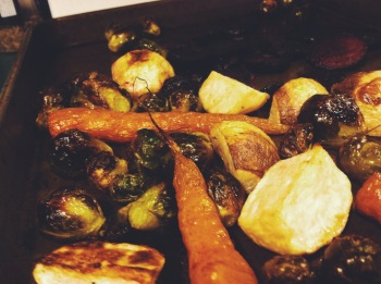 Oh yeah, we had lots of roasted veggies as well: brussel sprouts, carrots, and turnips.